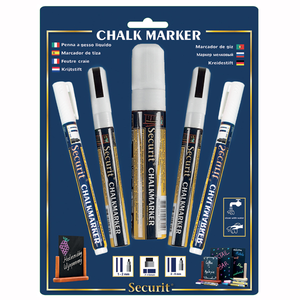 Hvide kridt markers i mix 2, 6 og 15 mm
