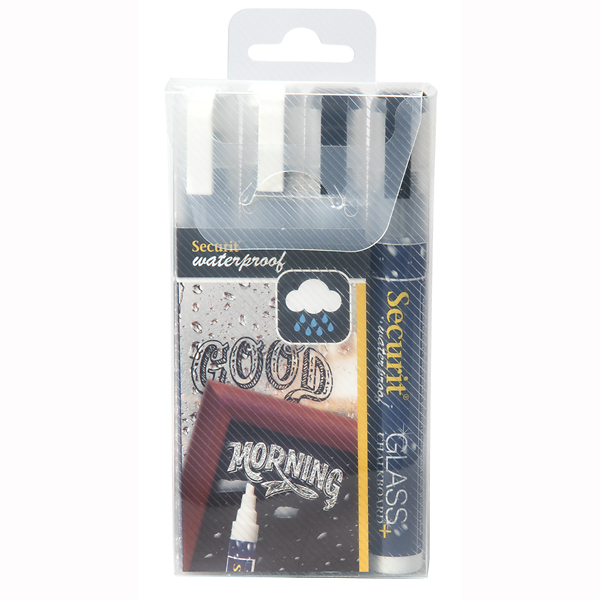 2 x hvid/sort kridt marker penne 6 mm Waterproof