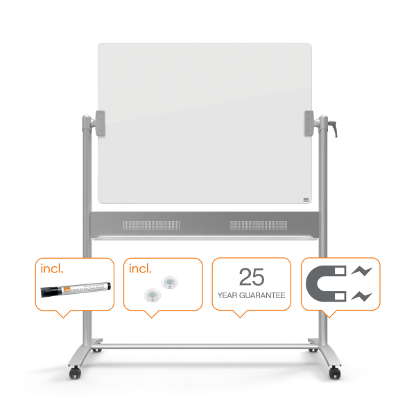 Whiteboardtavle Mobile Nobo glas brillianthvid 120 x 90 cm